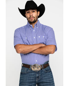 George Strait By Wrangler Purple Geo Print Short Sleeve Western Shirt , Purple, hi-res