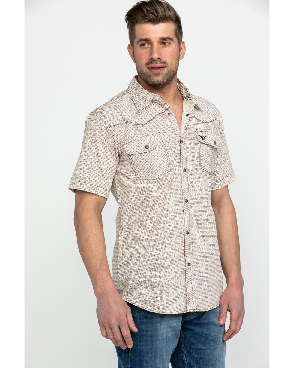 Cowboy Hardware Men's Cream Print Short Sleeve Western Shirt , Cream, hi-res