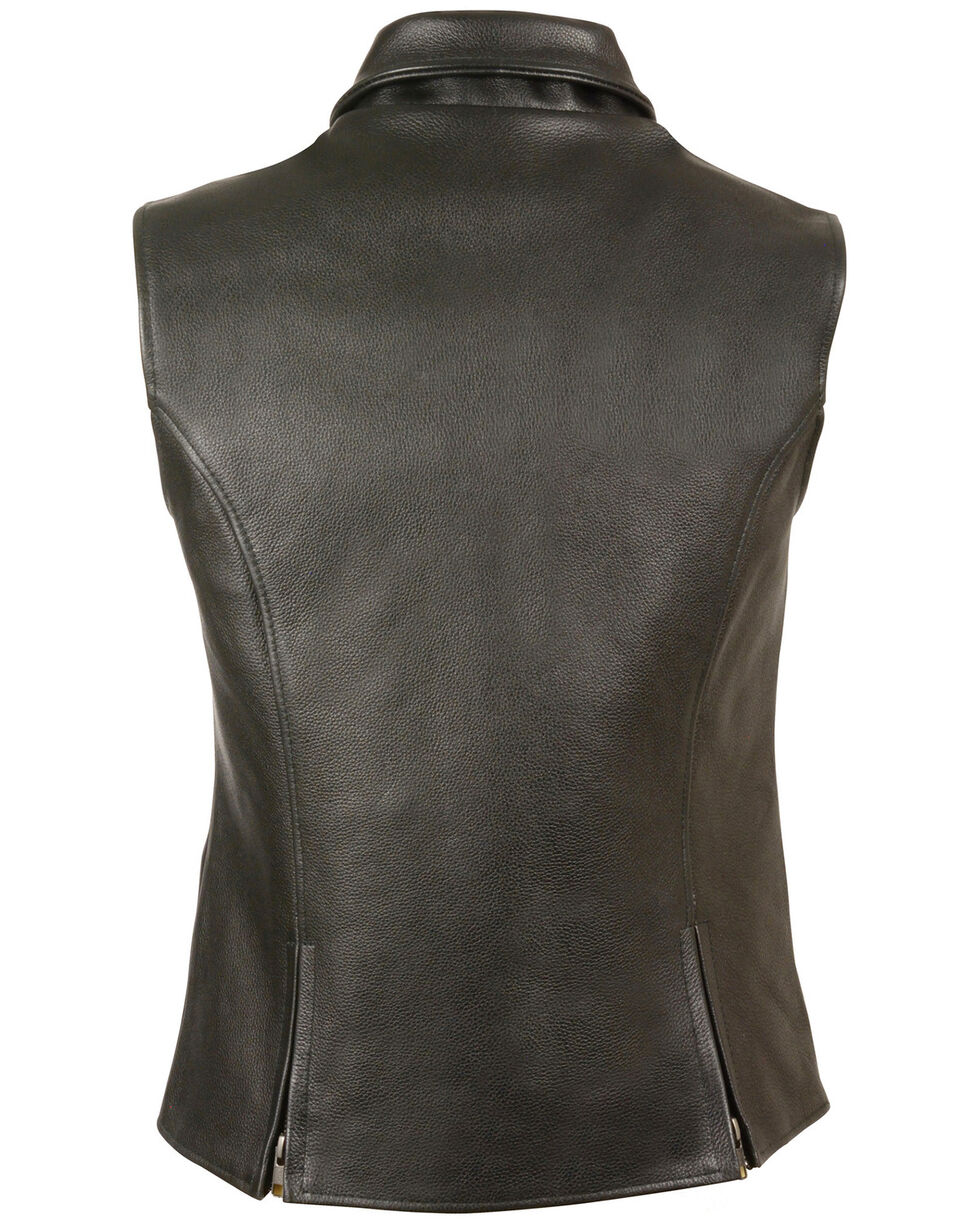 Milwaukee Leather Women's Extra Long Zipper Front Vest - 4X, Black, hi-res