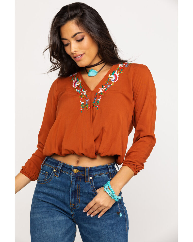 Red Label by Panhandle Women's Rust Floral Embroidered Top, Rust Copper, hi-res