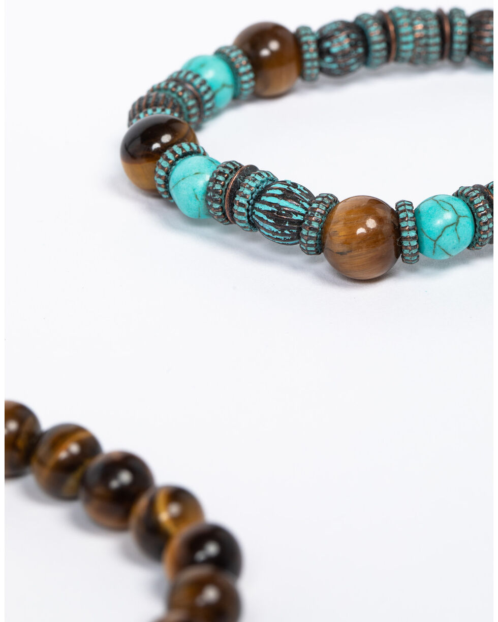 Shyanne Women's Patina Crescent 3 Pack Feather Beaded Stretch Bracelet Set, Turquoise, hi-res