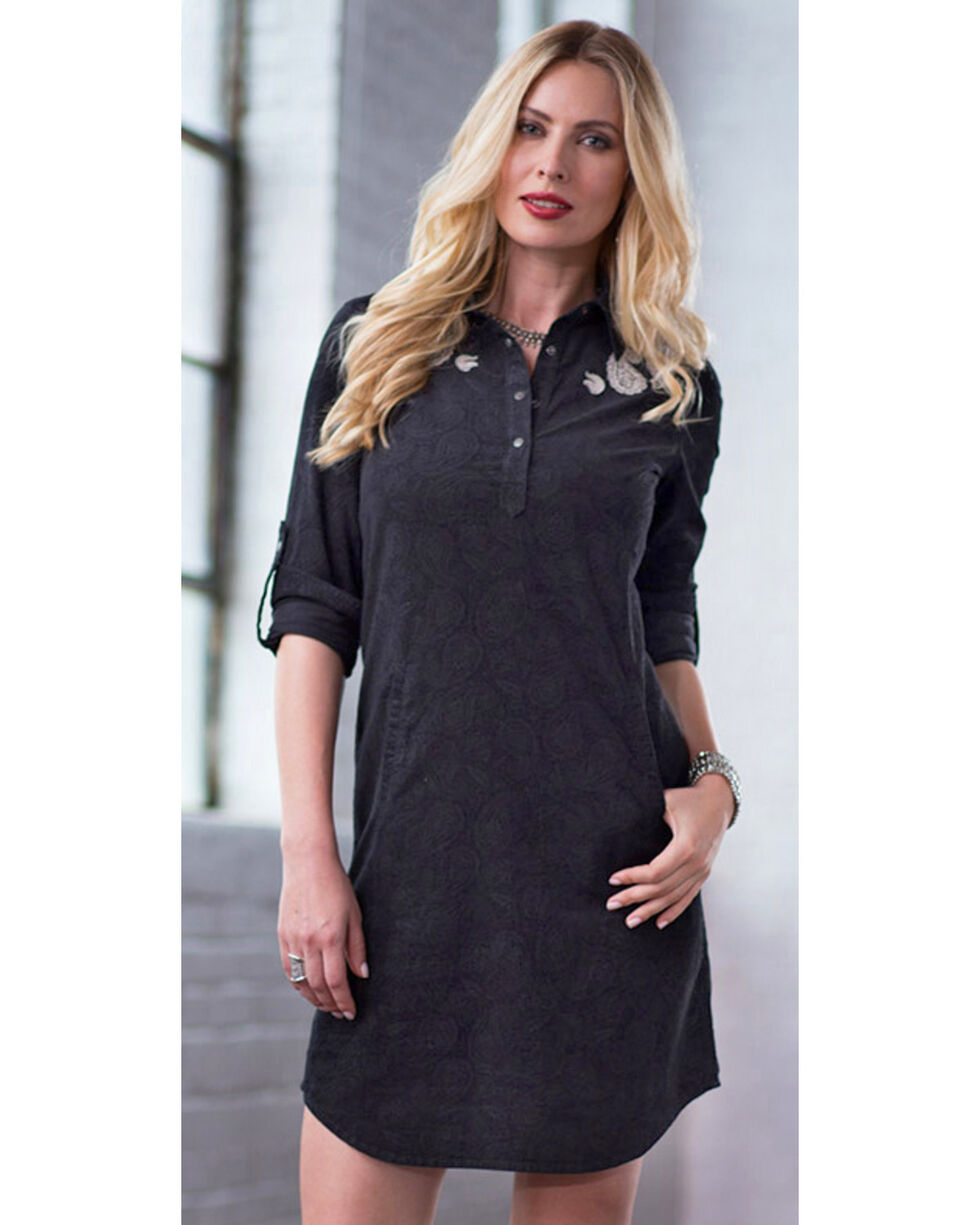 Ryan Michael Women's Embossed & Embroidered Dress, Black, hi-res