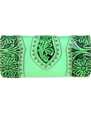 Montana West Trinity Ranch Women's Tooled Leather Wallet, Light/pastel Green, hi-res