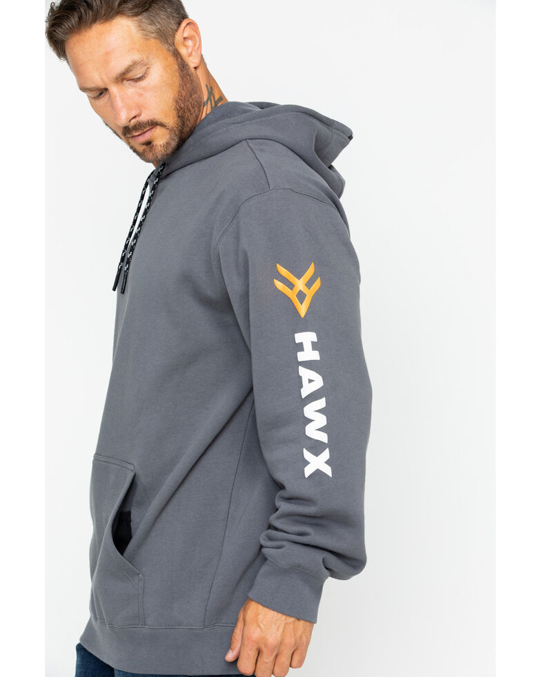 Hawx Men's Logo Sleeve Hooded Work Sweatshirt , Charcoal, hi-res