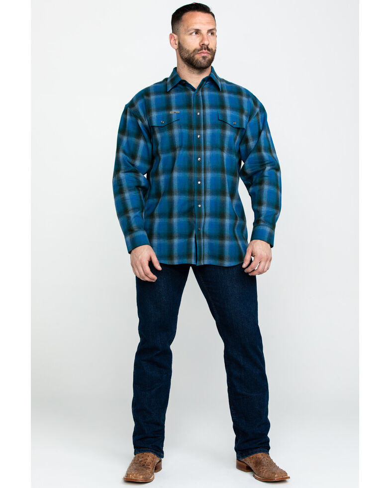 Powder River Outfitters Men's Brushed Poplin Plaid Long Sleeve Flannel Shirt , Blue, hi-res