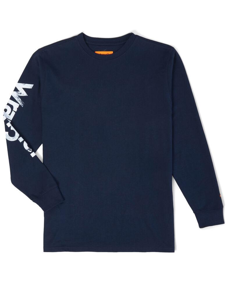Wrangler FR Men's Navy Logo Sleeve Graphic Long Sleeve Work Shirt , Navy, hi-res