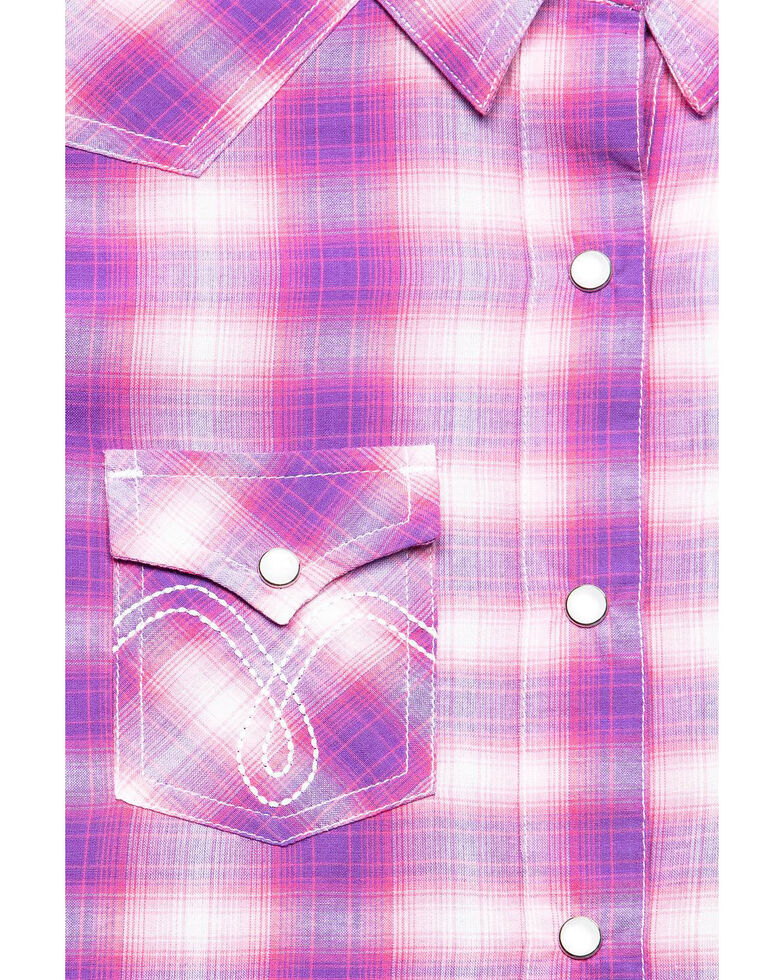 White Label by Panhandle Girls' Pink & Purple Plaid Long Sleeve Western Shirt, Pink, hi-res