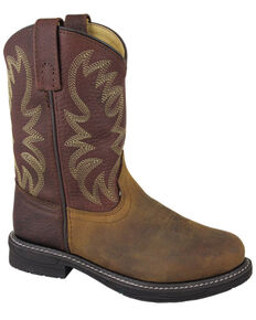 Smoky Mountain Boys' Buffalo Wellington Western Boots - Round Toe, Brown, hi-res