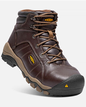 Keen Women's Santa Fe Work Boots - Aluminum Toe, Brown, hi-res