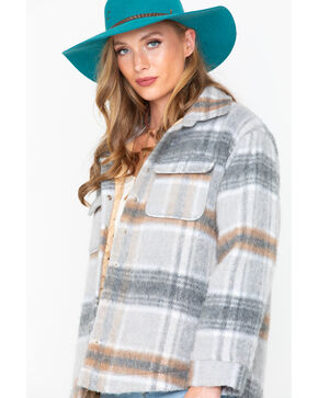 Miss Me Women's Plaid Jacket, Grey, hi-res