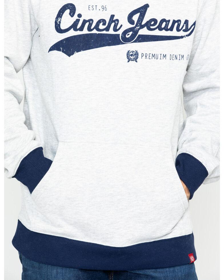 Cinch Men's Distressed Logo Fleece Hoodie, Heather Grey, hi-res