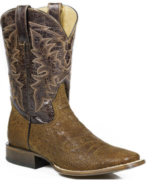 Roper Men's Coco Belly Alligator Print Western Boots, Brown, hi-res