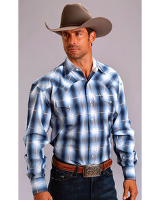 1a09c812 Stetson Men's Blue Dove Ombre Long Sleeve Snap Shirt