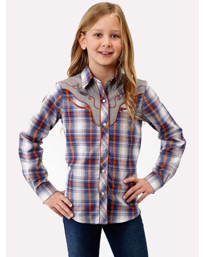 Karman Girls' Blue Plaid Horseshoe Snap Long Sleeve Western Shirt , Blue, hi-res