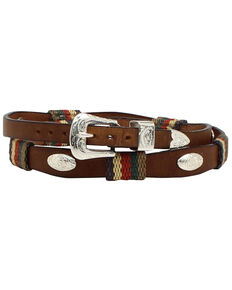 M & F Western Men's Striped Leather Oval Concho Hatband, Med Brown, hi-res