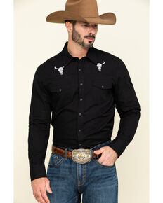 Rock & Roll Cowboy Men's Solid Bull Embroidered Long Sleeve Western Shirt , Black, hi-res