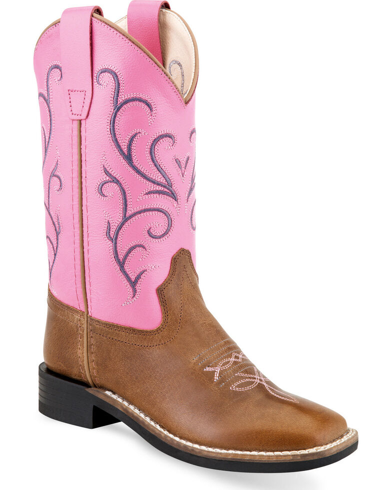 Old West Youth Girls' Tan/Pink Embroidered Cowgirl Boots - Square Toe, Tan, hi-res