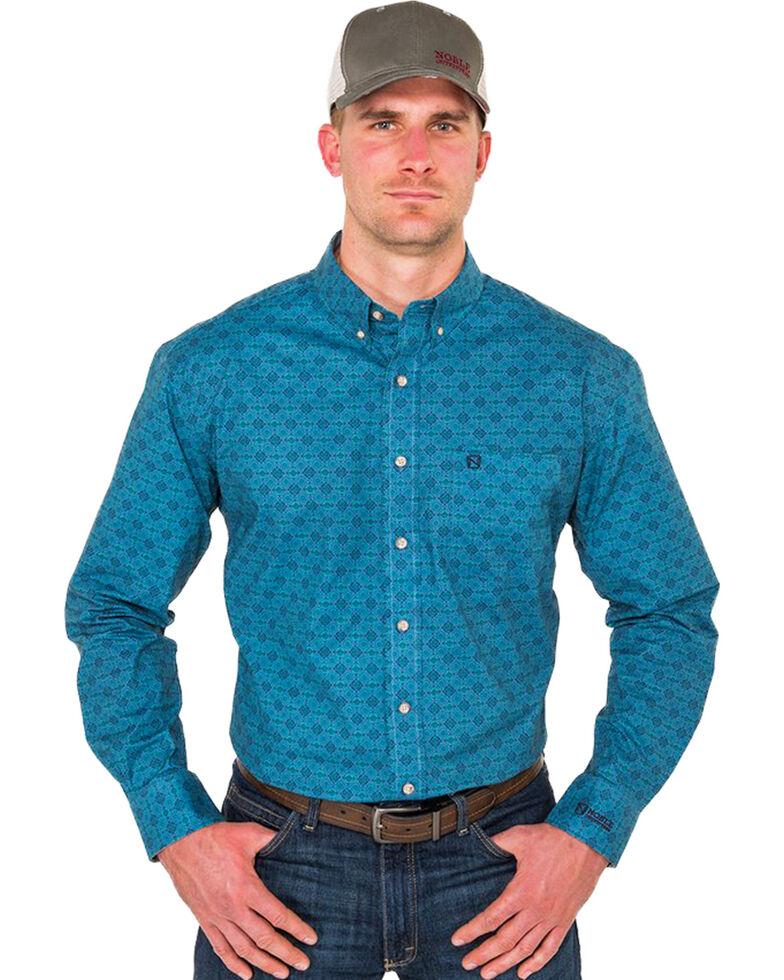 Noble Outfitters Men's Heirloom Blue Geo Print Long Sleeve Western Shirt , Blue, hi-res