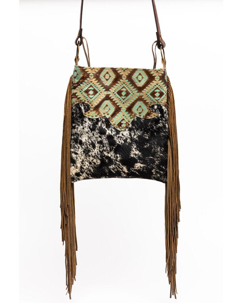 Keep It Gypsy Women's Black Hazel Speckled Aztec Leather Handbag, Brown, hi-res