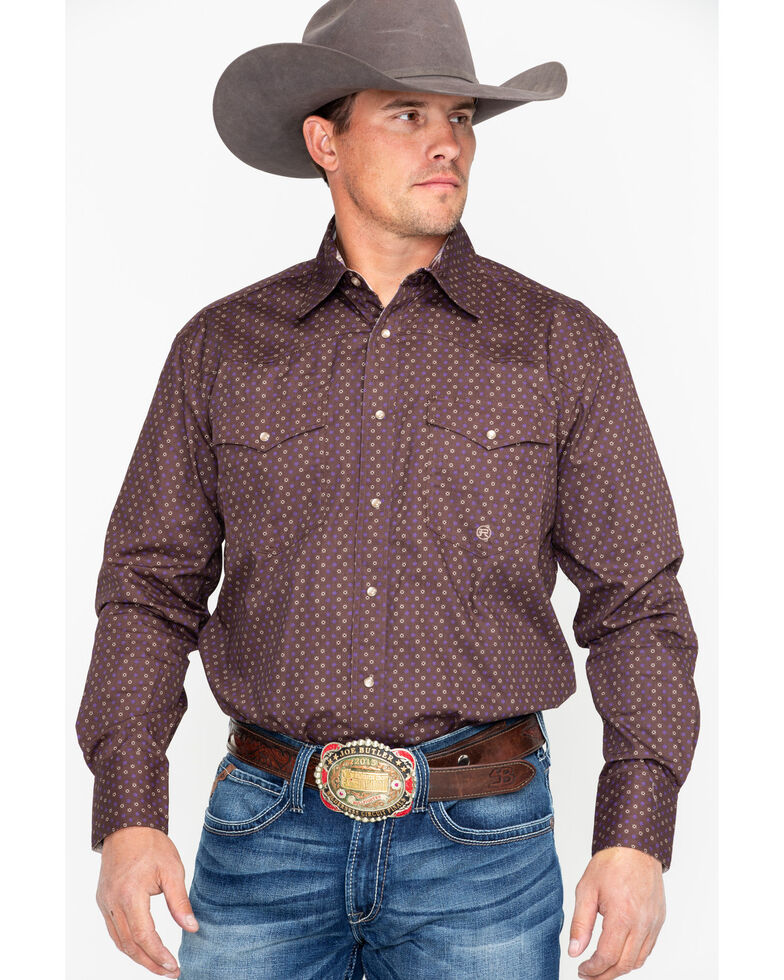 Roper Men's Brown Geo Print Long Sleeve Western Shirt , Brown, hi-res