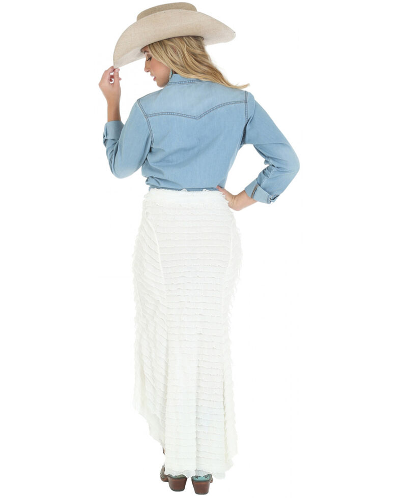 Wrangler Women's Long Sleeve Denim Western Shirt, , hi-res