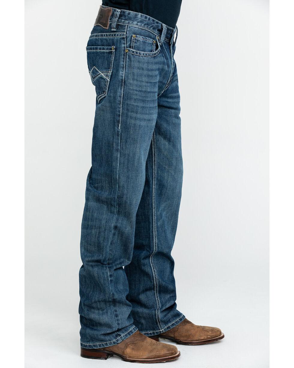Rock & Roll Denim Men's Large Khaki Stitch Double Barrel Straight Jeans , Blue, hi-res