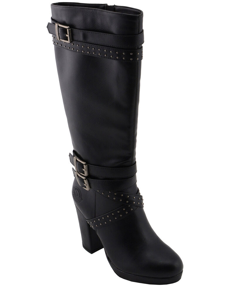 Milwaukee Leather Women's Platform Heel Studded Strap Boot - Round Toe, Black, hi-res