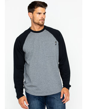 Hawx Men's Solid Long Sleeve Baseball Raglan Crew Work Shirt , Heather Grey, hi-res