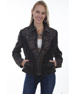 Leatherwear by Scully Women's Vintage Black Embroidered Fringe Jacket, Black, hi-res