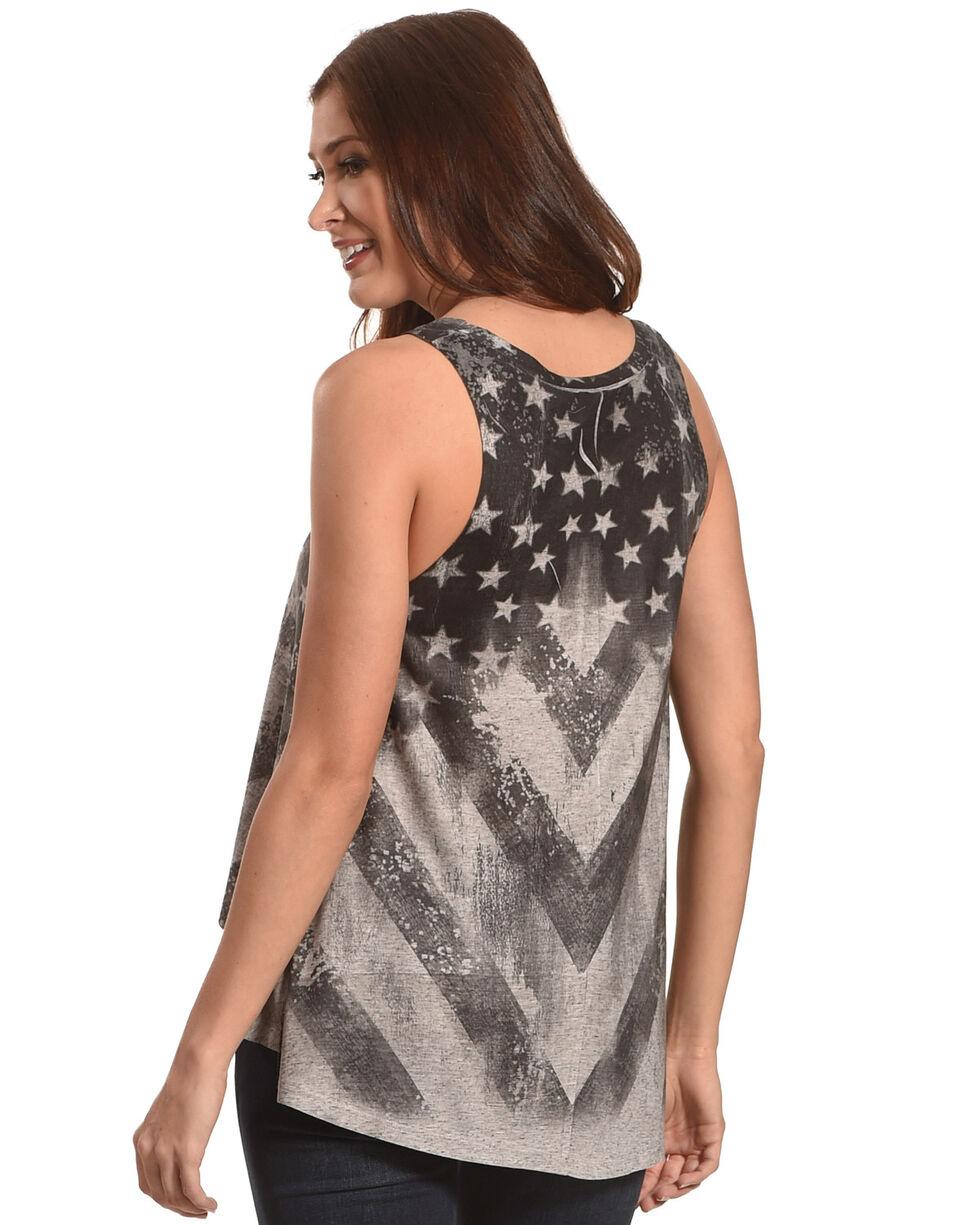 Moa Moa Women's Black Stars and Stripe Flag Tank , Black, hi-res