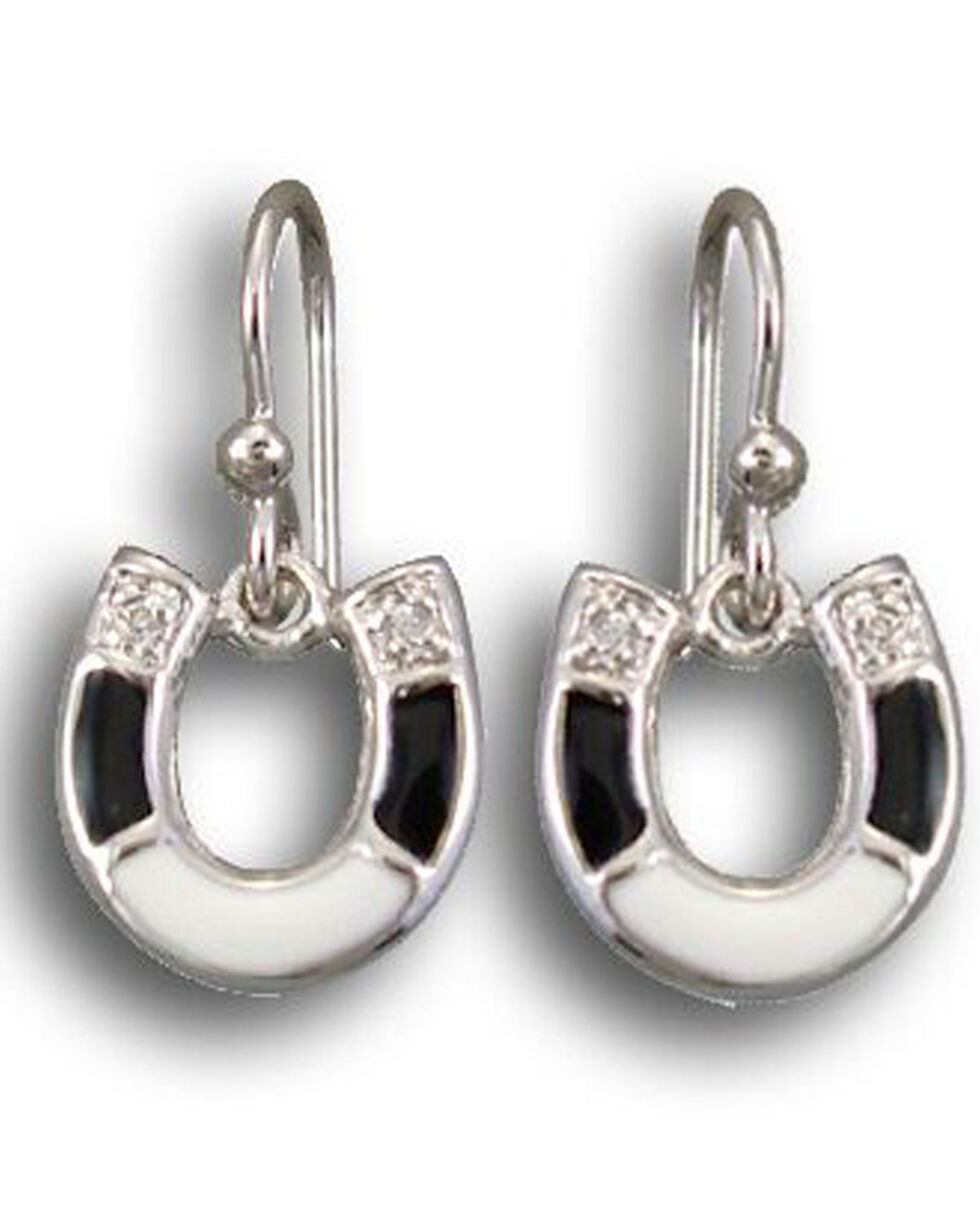 Kelly Herd Women's Black & White Sterling Horseshoe Earrings , Black, hi-res