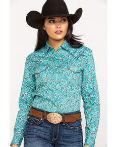 Rough Stock by Panhandle Women's Printed Long Sleeve Western Shirt, Turquoise, hi-res