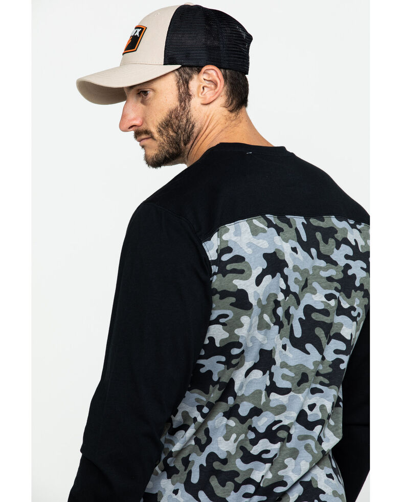 Hawx Men's Black Camo Pocket Graphic Long Sleeve Work T-Shirt , Black, hi-res
