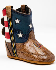 Cody James Infant Boys' Flag Poppet Western Boots, Red/white/blue, hi-res