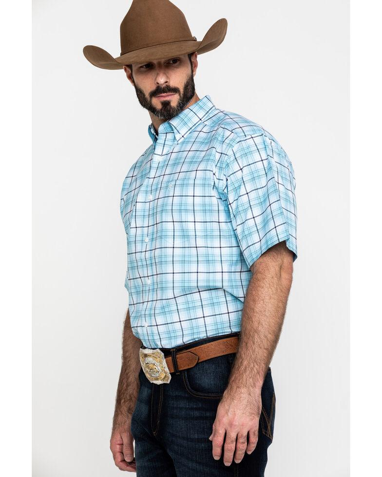 Ariat Men's Larkspur Med Plaid Short Sleeve Western Shirt - Big , Blue, hi-res