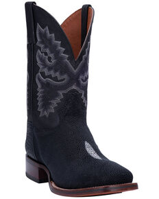 Dan Post Men's Ray Western Boots - Wide Square Toe, Black, hi-res
