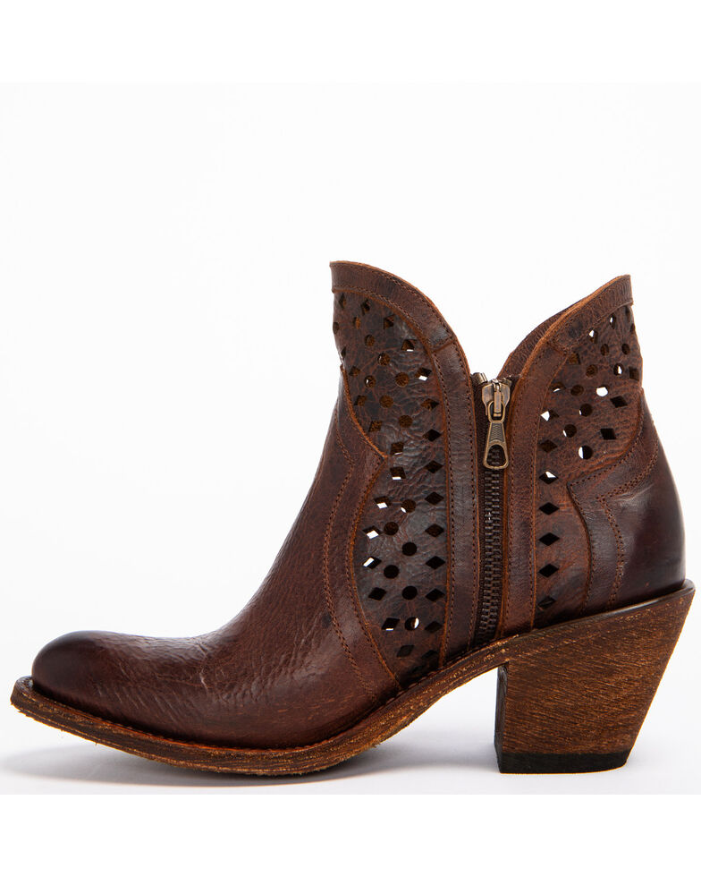 Shyanne Women's Brown Nicki Zipper Booties - Round Toe, Brown, hi-res