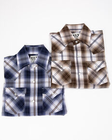 Ely Cattleman Boys' Assorted Textured Plaid Snap Long Sleeve Western Shirt  , Multi, hi-res