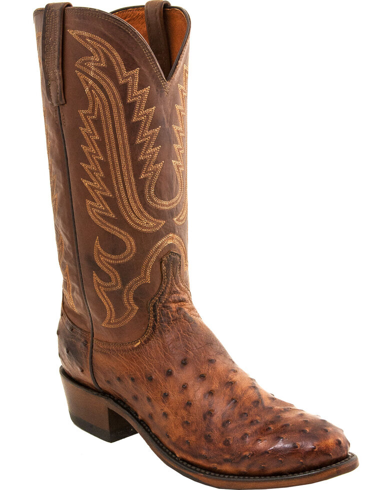 Lucchese Men's Handmade Luke Full Quill Ostrich Western Boots - Round Toe, Brown, hi-res