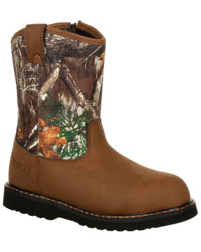 Rocky Boys' Outdoor Western Boots - Round Toe, Camouflage, hi-res