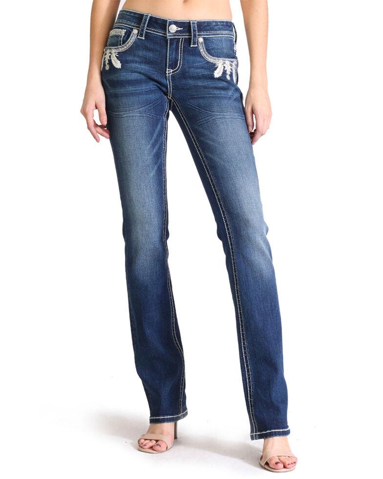 Grace In LA Women's Feather Pocket Dark Boot Jeans , Blue, hi-res