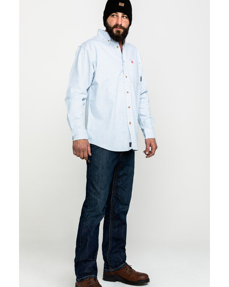 Ariat Men's White FR Solid Durastretch Long Sleeve Work Shirt  , White, hi-res