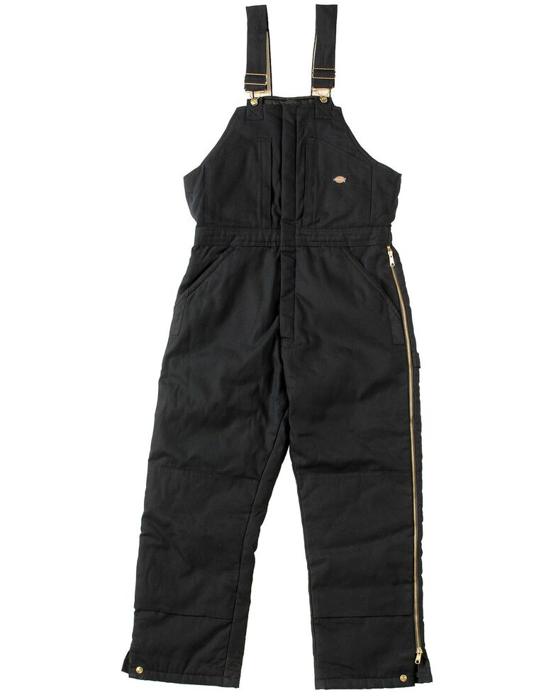 Dickies Men's Duck Insulated Bib Overalls, Black, hi-res
