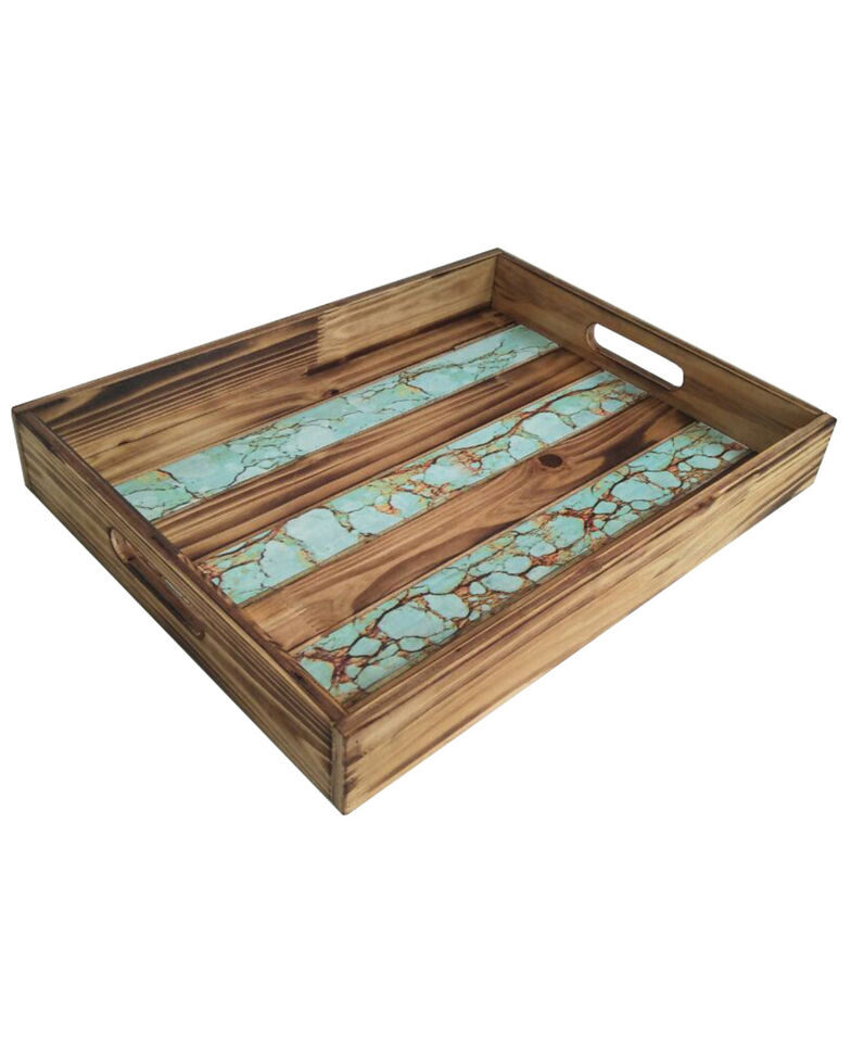 HiEnd Accents Wooden Tray With Turquoise Inlay, Turquoise, hi-res