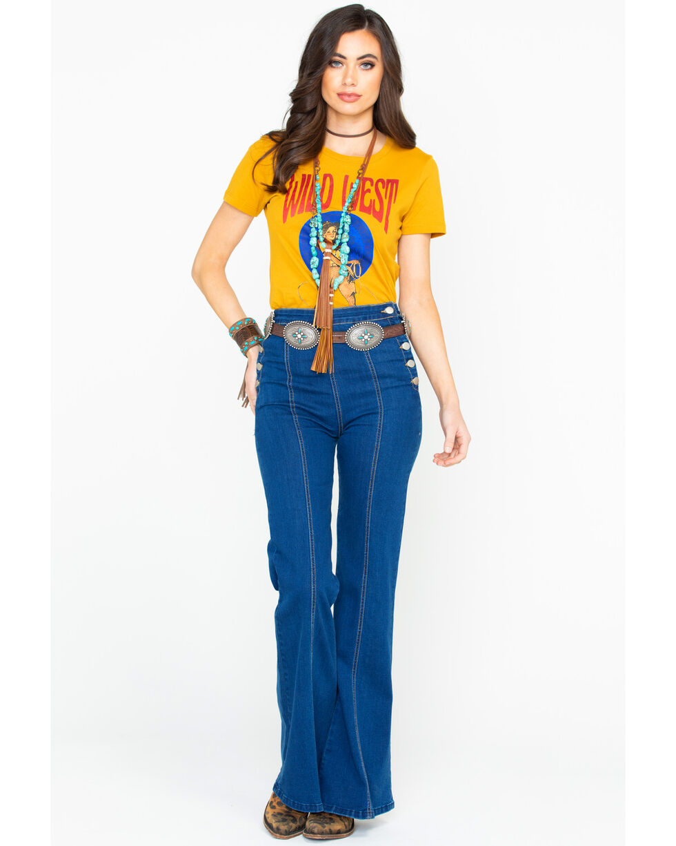 Cowgirl Up Women's Mustard Wild West Rodeo Graphic Tee, , hi-res