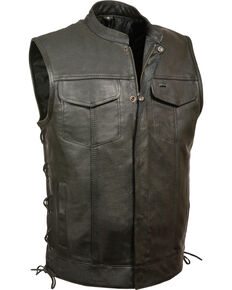 Milwaukee Leather Men's Side Lace Snap/Zip Front Club Style Vest - Big - 3X, Black, hi-res