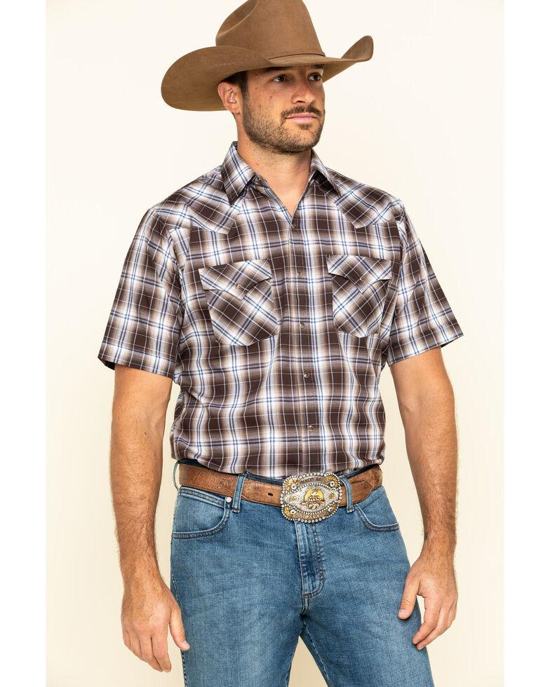 Ely Cattleman Men's Brown Textured Plaid Short Sleeve Western Shirt , Brown, hi-res