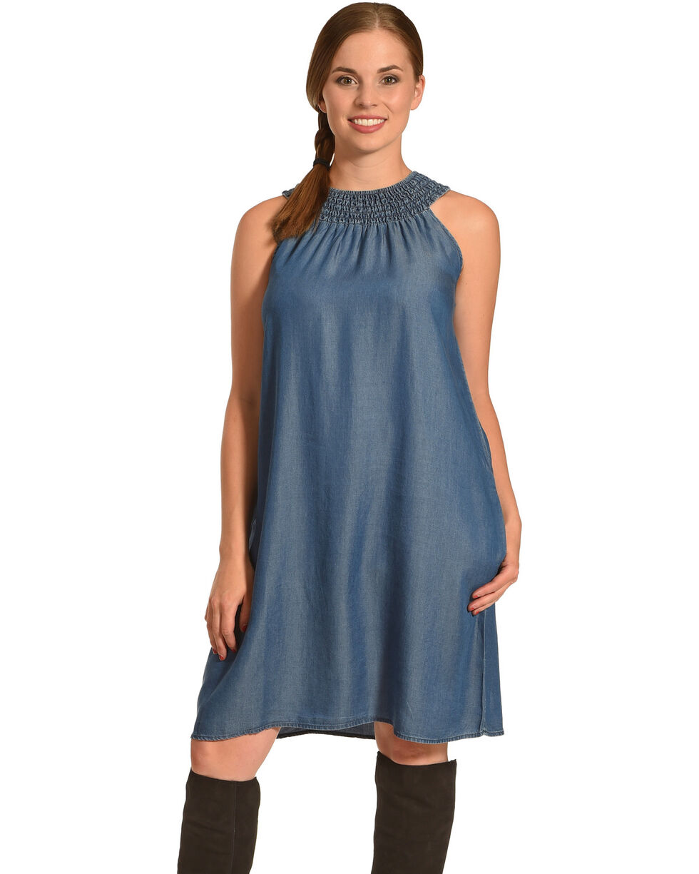 Given Kale Women's Indigo Sleeveless Tencel Dress , Indigo, hi-res