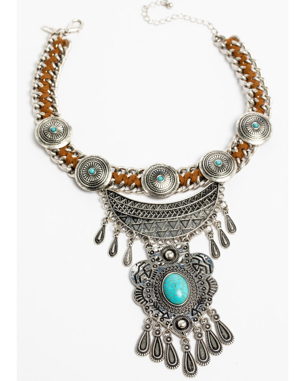 Shyanne Women's Sedona Spice Chain Wrapped Choker, Silver, hi-res