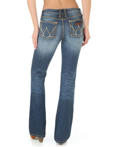 Wrangler Women's Mae Premium Patch Boot Cut Jeans, Blue, hi-res
